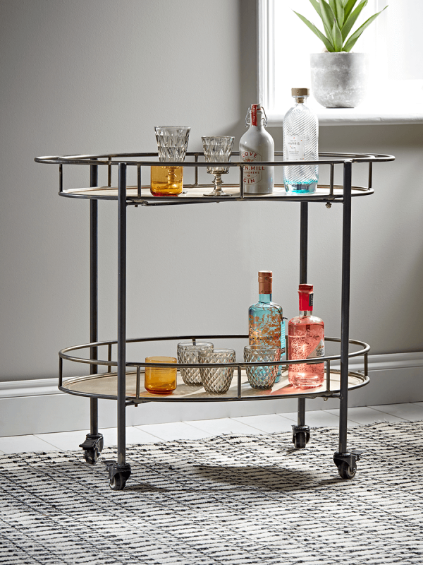 The next addition to the bar area...... Industrial Metal drinks Trolley - £250    coxandcox.co.uk
