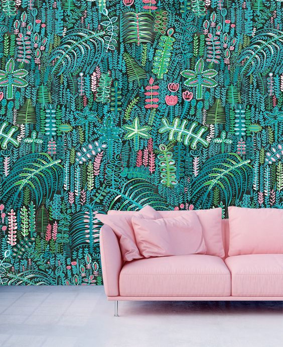 If you want a bold hand painted wallpaper, how about this by Lucy Tiffney. The verdant botanicals and whimsical animal imagery sings along and out of the dark background.  Mr Bear - £165 per 10m roll    www.lucytiffneyshop.com   (Designed and printed in the UK.)