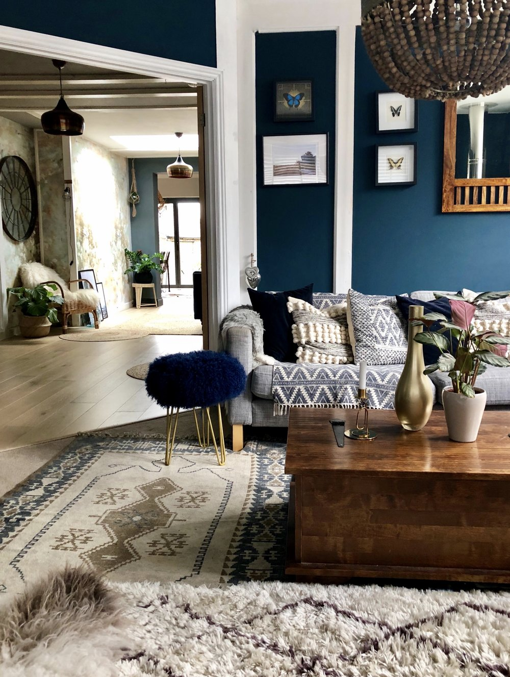 Patterned rug - French Connection....... Berber style rug - Next Home.......  Blue patterned rug on the sofa - HM home
