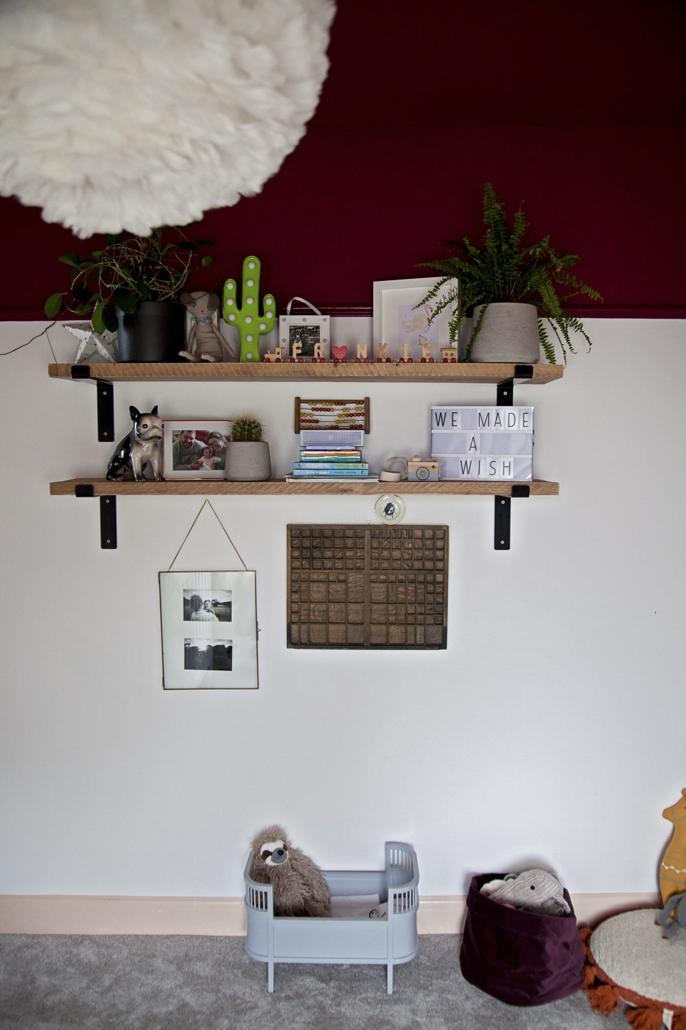 I love these shelves in Frankie's room...... Proof that a 2 year olds room can be just as cool as the rest of the house!