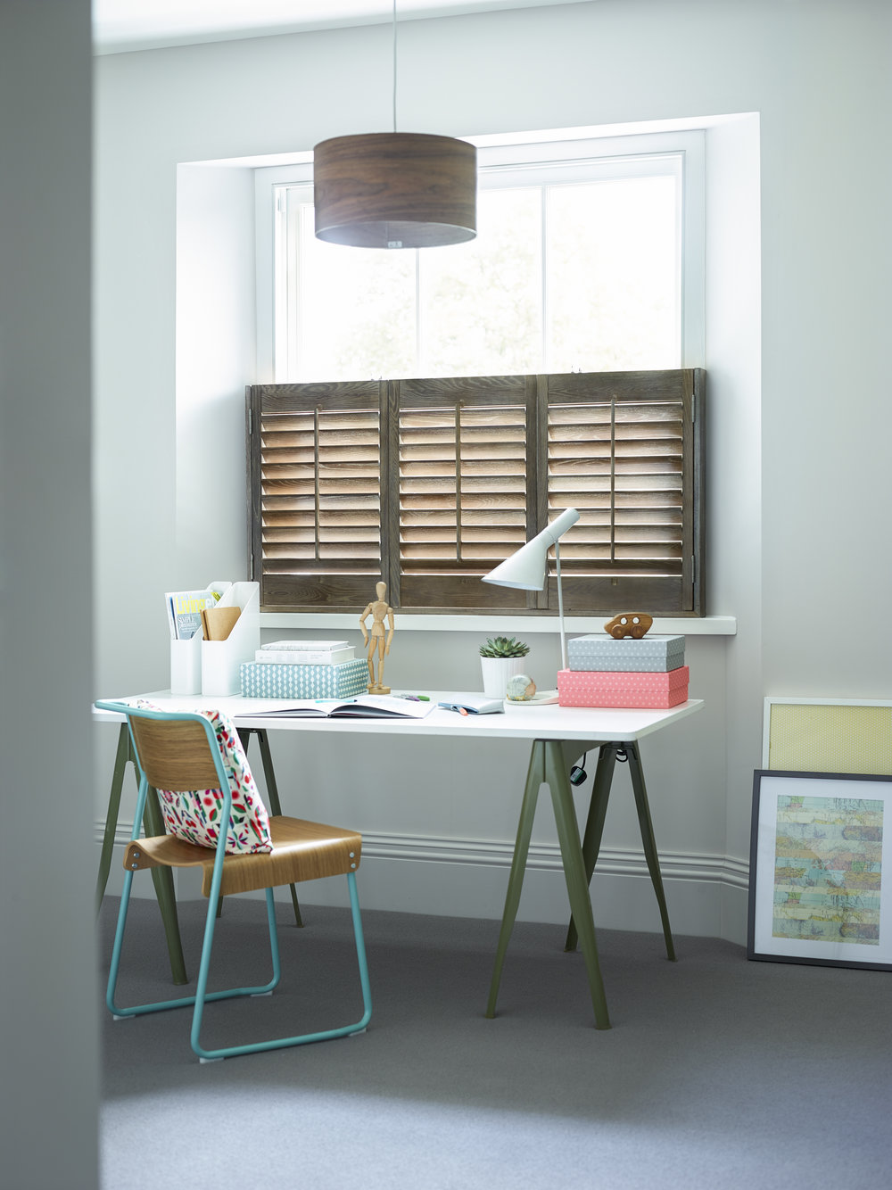 Cafe Style Shutters-   These are ideal if you live on a road or at street level and want to keep your blinds or curtains too as they maintain your privacy during the day when the curtains are pulled.