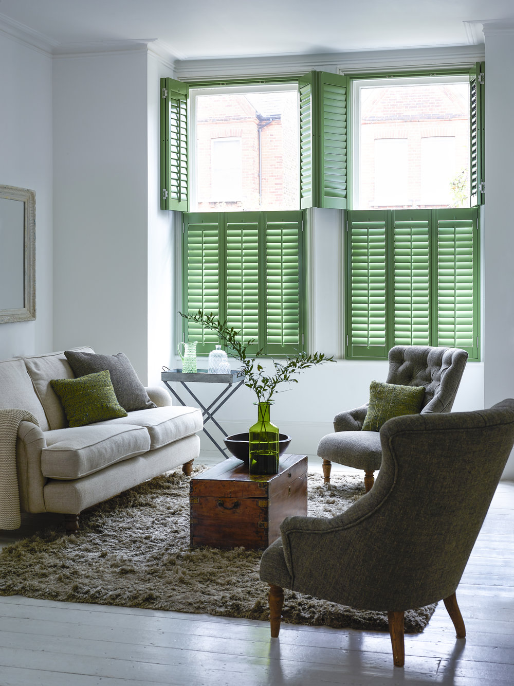 Tier-on-Tier Shutters -  With these shutters the upper and lower panels move individually of each other so you have the flexibility of having the top panel open during the day for added light whilst still maintaining privacy.