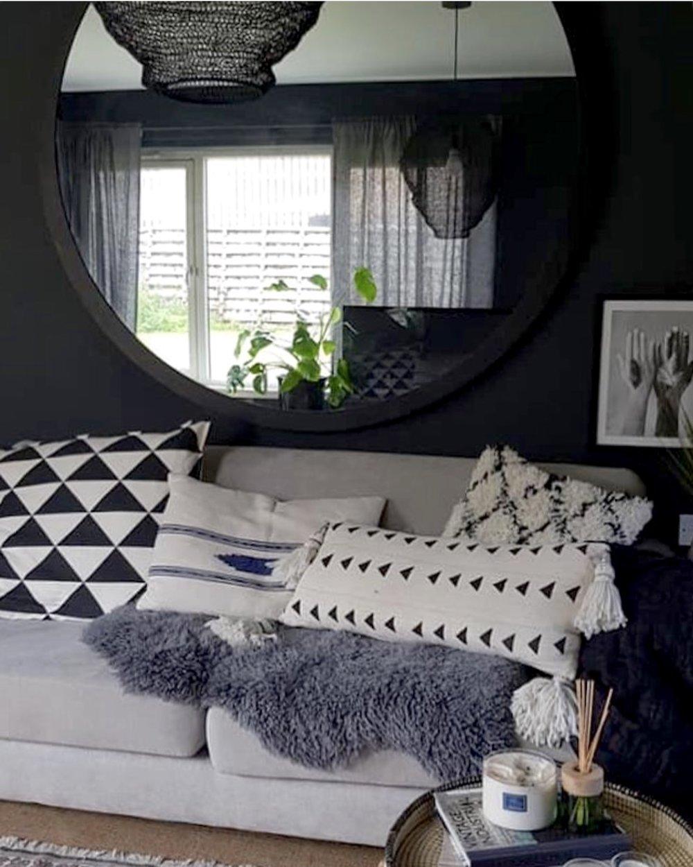 Cushions from  @homeofboho  @Ikeauk  and  @thewildblueuk ...Black pendant light  www.dowsingandreynolds.com