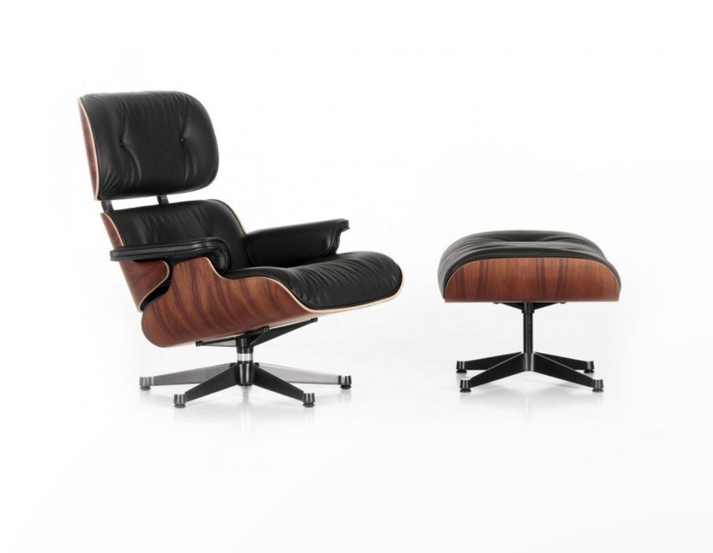 Eames Lounge Chair and Ottoman Nero Leather  - Heals £7,380