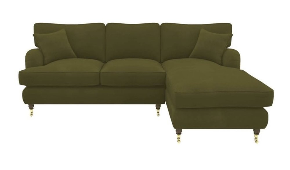 Green Velvet Alwinton Corner Sofa  - Sofas & Stuff