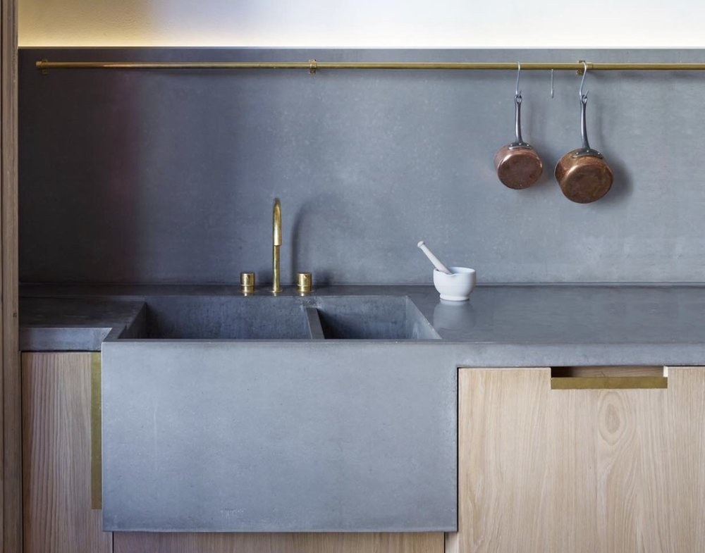 Concrete worktop with double integrated sink and splash-back  - Haus Concrete Surfaces