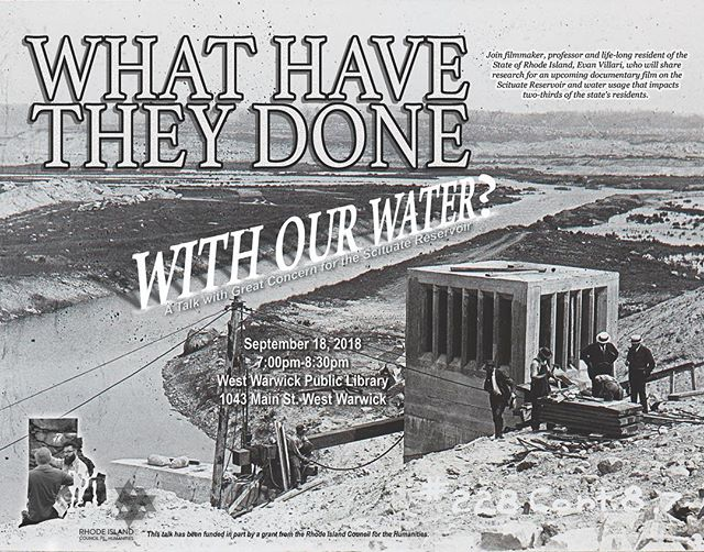 HBD to the one and only @overspraystudios – Here's some poster work, from Overspray: WHAT HAVE THEY DONE WITH OUR WATER? A TALK WITH GREAT CONCERN FOR THE SCITUATE RESERVOIR  Tuesday September 18 @ 7:00pm - West Warwick Public Library.  See link in bio for more info.