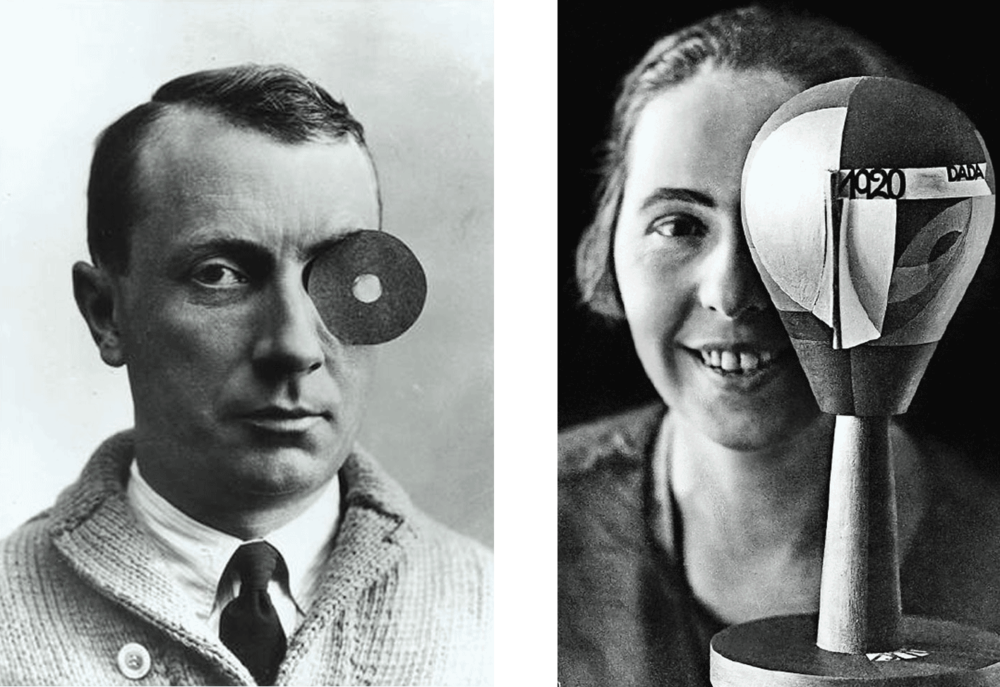 (L) Anonymous, Hans Arp with Nabel-Monokel, 1922 (R) Nic Aluf, Sophie Taeuber-Arp with Dada Head, 1920. Credit: (L) © Stiftung Arp e.V., Berlin/Rolandswerth. DACS 2018. Image courtesy Galerie Berinson, Berlin. (R) Siftung Arp e.V., Berlin/Rolandswerth