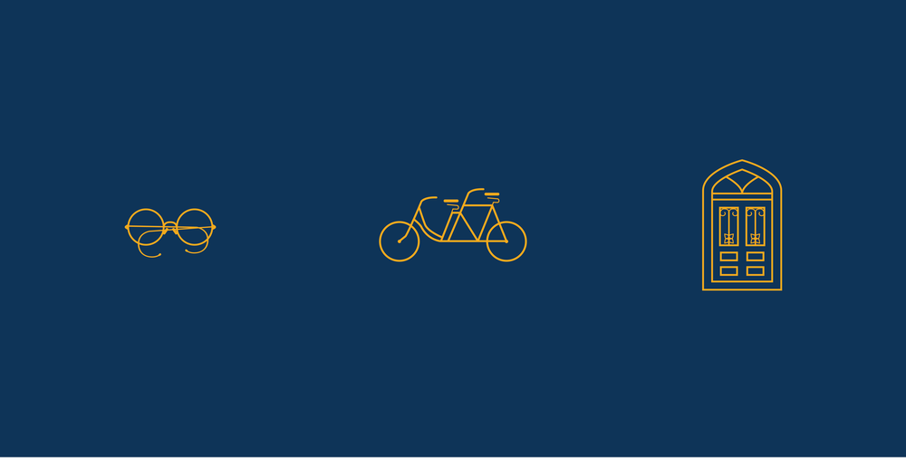 Iconography inspired by Goldwin Goldsmith's famous glasses, tandem bicycle, and the windows of Marvin Hall.