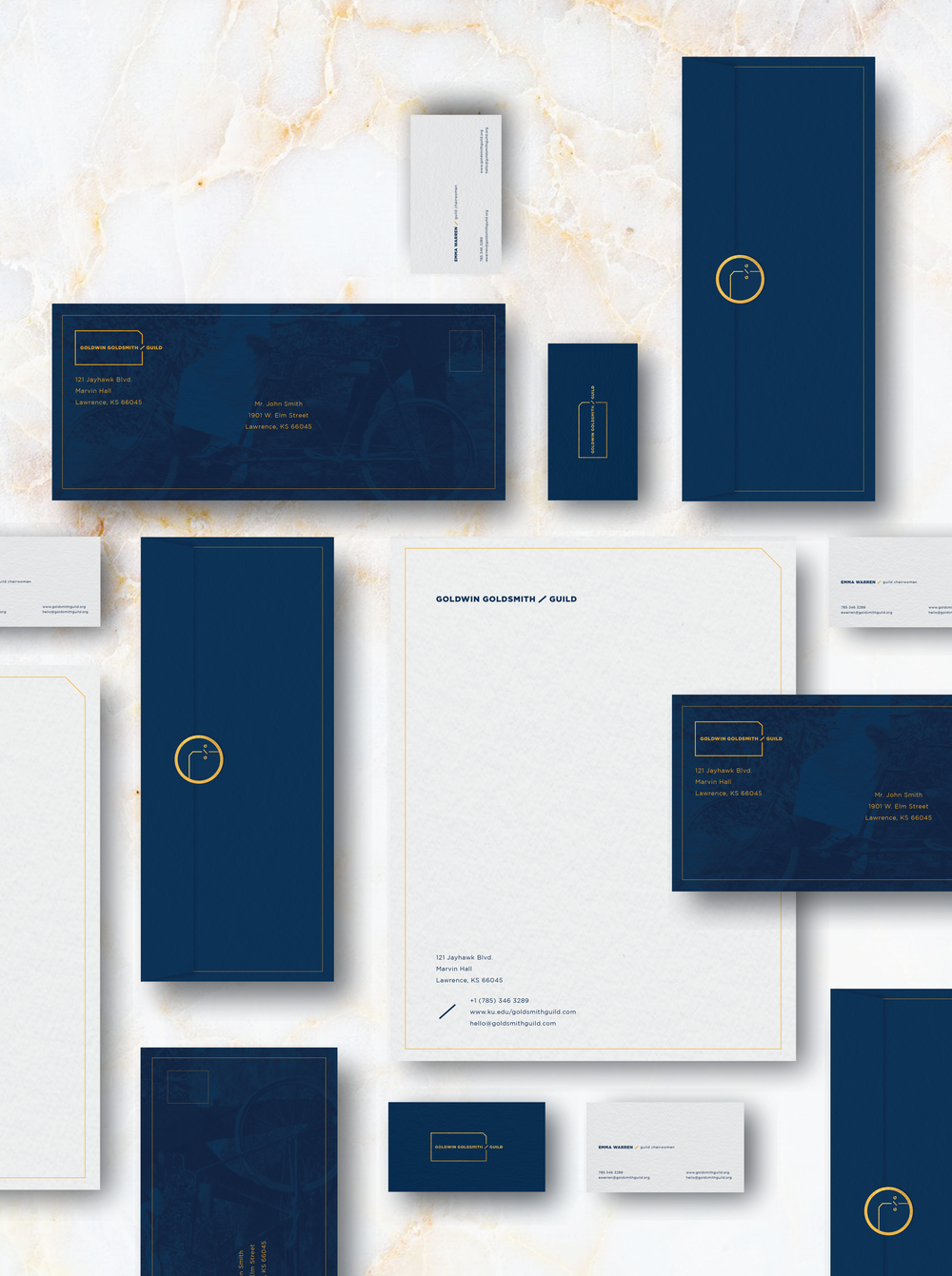 Using premium paper and gold foil accents help convey the prestige of the organization.
