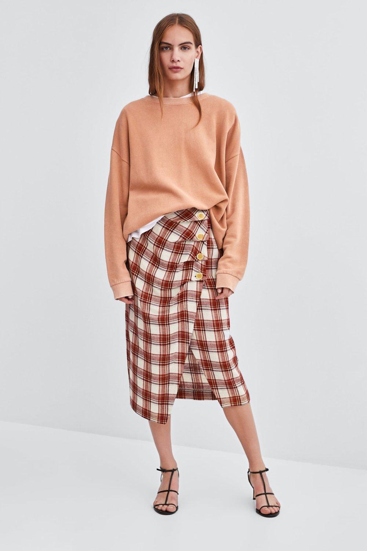 Zara Plaid Midi Skirt     – $39.90