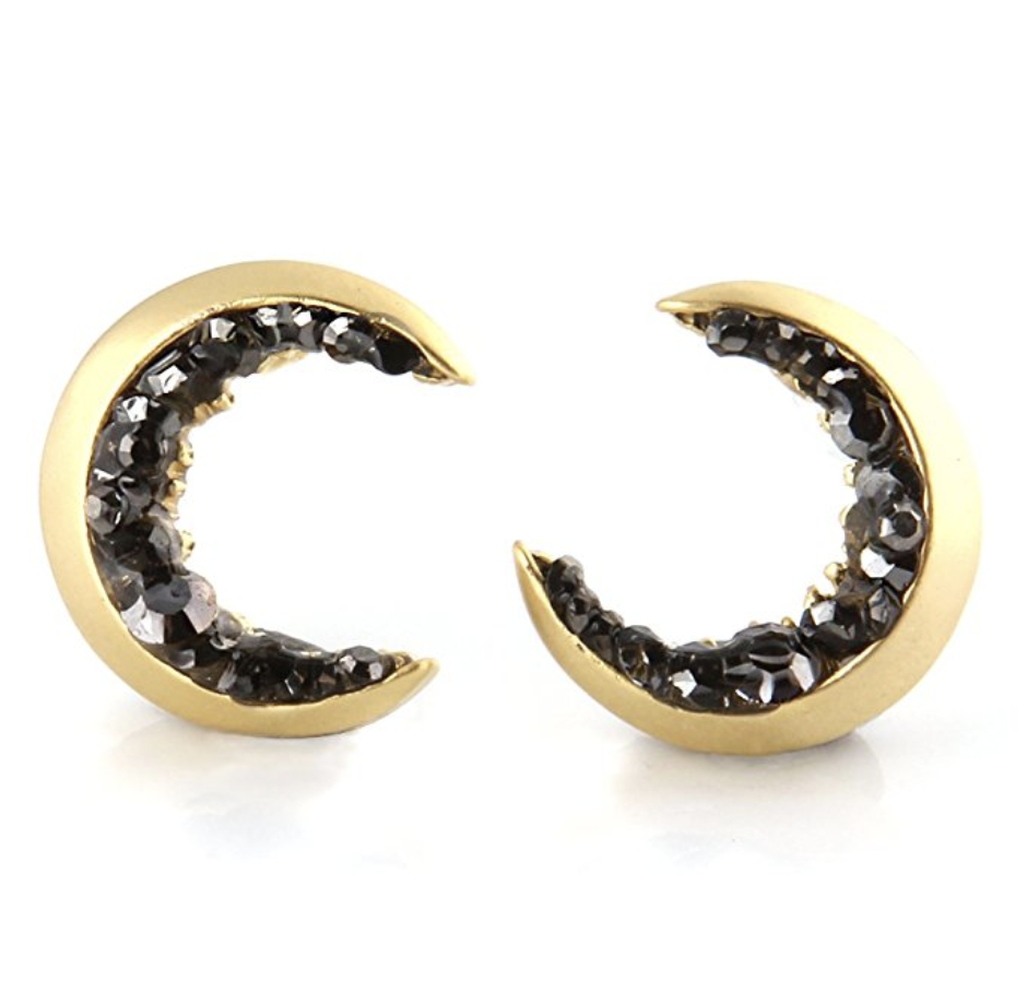 Crescent Moon and Black CZ Earrings   – $17.50