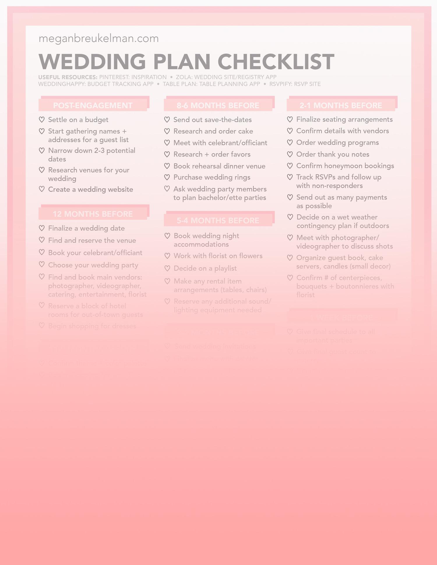Planning A Wedding Checklists.Wedding Countdown Checklist Free Printable Wedding
