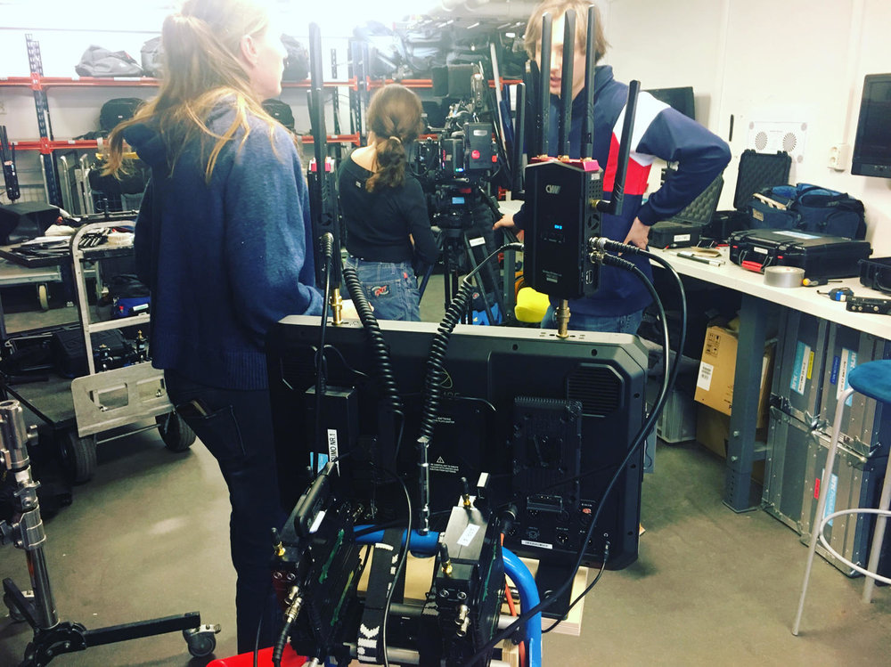 The ScriptSupervisor trolley with 2x Quine Firmware updated CVW 800 Pro receivers, 2x QuineBox IoT for dailies and editorials shipped to QuineCore