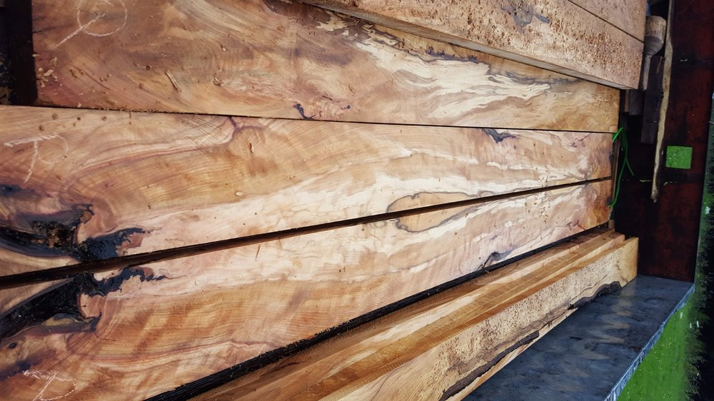 We had the lovely old beech tree planked and stored it to season