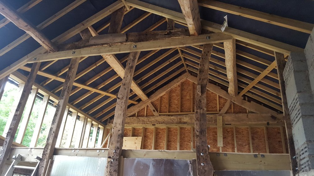 The framework making up the large upstairs bedroom