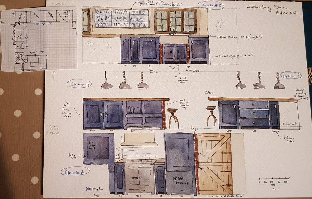 Early drawings we did of the kitchen - the lights are exactly the same