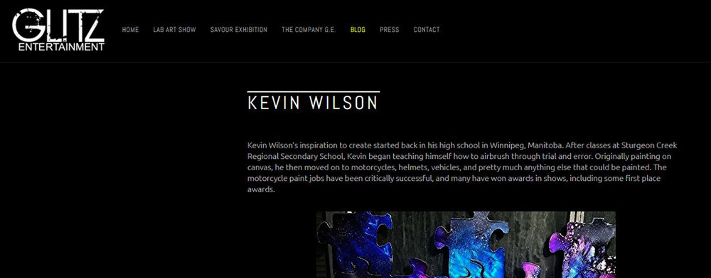 Kevin Wilson featured on GLITZ Entertainment, click  here