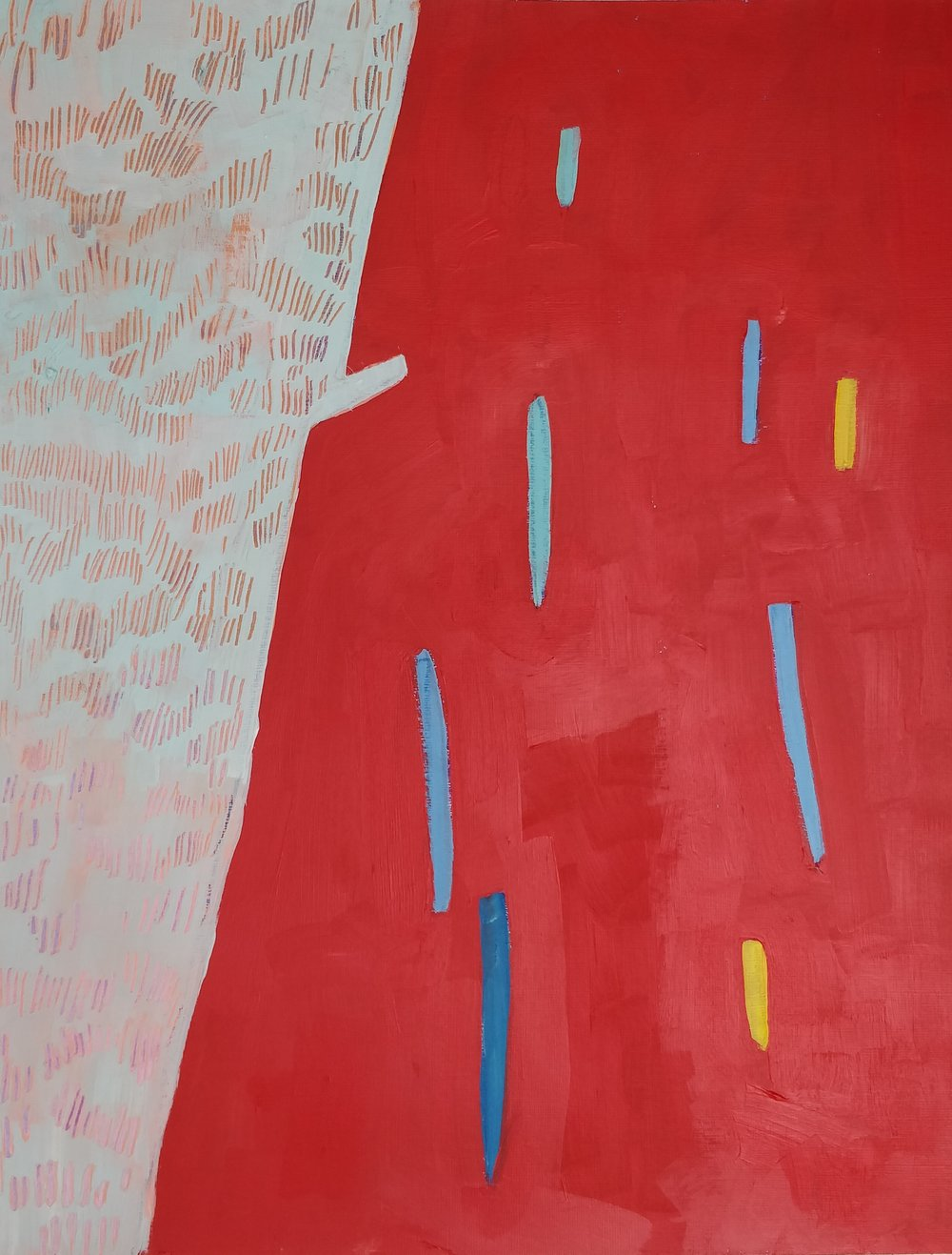 Sketching out ideas - red fence - acrylic on paper