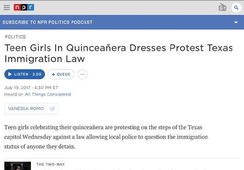 NPRTeen Girls in Quinceañera Dresses Protest Texas Immigration Law - JULY 19, 2017