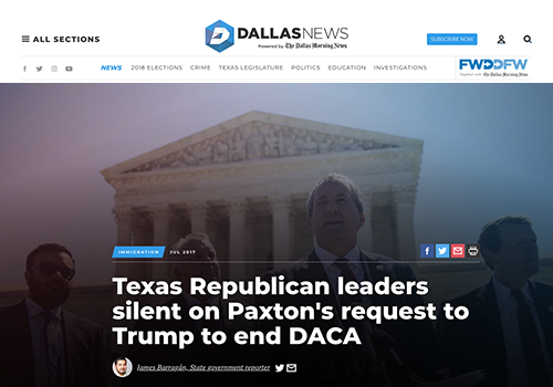 DALLAS MORNING NEWSTexas Republican leaders silent on Paxton's request to end DACA - JULY 7, 2017