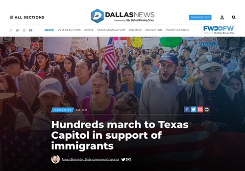 DALLAS MORNING NEWSHundreds to march to Texas Capitol in support of immigrants - FEBRUARY 16, 2017
