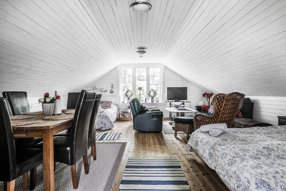 Loftet - Det här loftet förvandlas ofta och gärna - den passar familjen, kompisgänget och ibland funkar den som ett flerbäddsrum för solo-besökare.