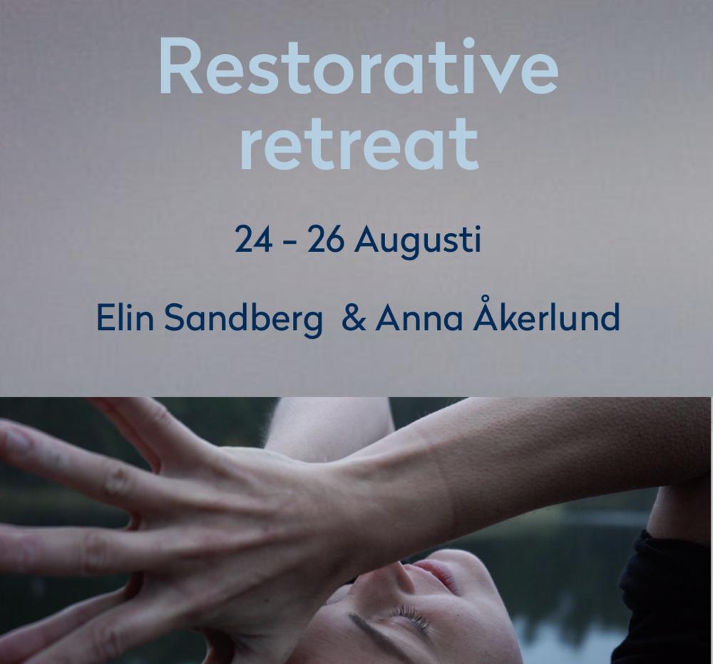 Restorative retreat - Sista helgen i augusti (24-26 augusti) co-hostar vi en retreat med Elin Sandberg (Yogadoktorn) och Anna Åkerlund. Restorative Yoga är en meditativ och terapeutisk form av yoga som handlar om att slappna av och skapa återhämtning, fysiskt, mentalt och själsligt. Läs mer om retreatet här.