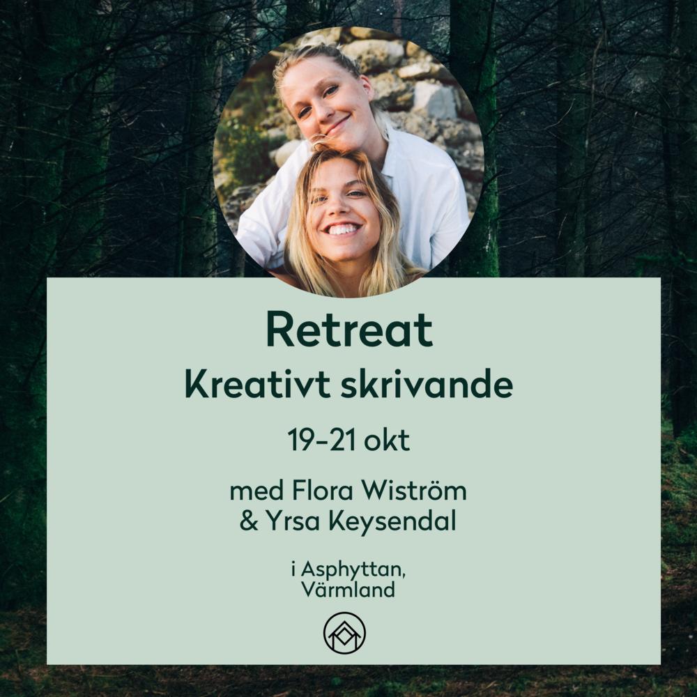 En helg tillägnad skrivandet - Den 19 - 21 oktober bjuder Flora Wiström och Yrsa Keysendal in 14 deltagare som vill dyka in i skrivandet.Det kommer pratas gestaltning, dialog och dramaturgi och ge en mängd olika skrivövningar. Det kommer även pratas om hur man kan leva ett skrivande liv –vare sig det är att bli utgiven författare eller skriva för att komma ikapp sig själv.Läs mer om retreatet här.