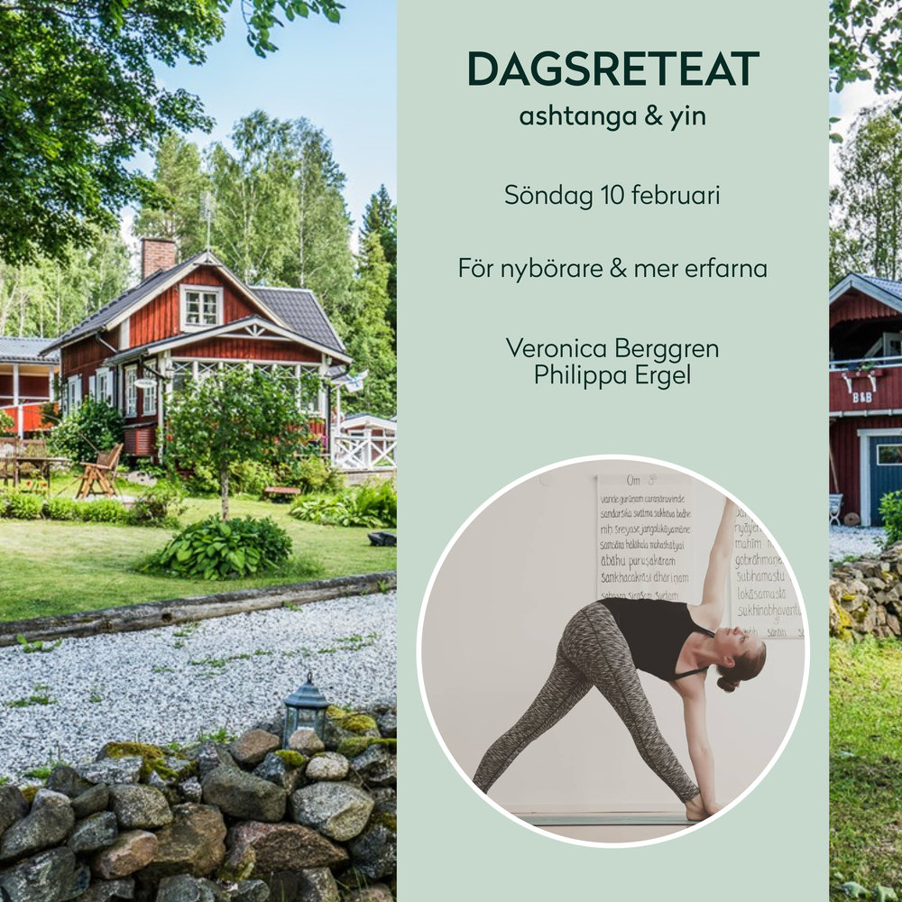 Day retreat - Welcome to a lovely day retreat with Philippa and Veronica. We invite 20 beautiful souls to focus on the breath, and how we can use it to anchor your spirit, body and mind. We will apply it in Mindfulness, Ashtanga and Yinyoga. Level? Beginners and intermediate.Details: 750 SEK - pre-register only Find more info here (in Swedish)