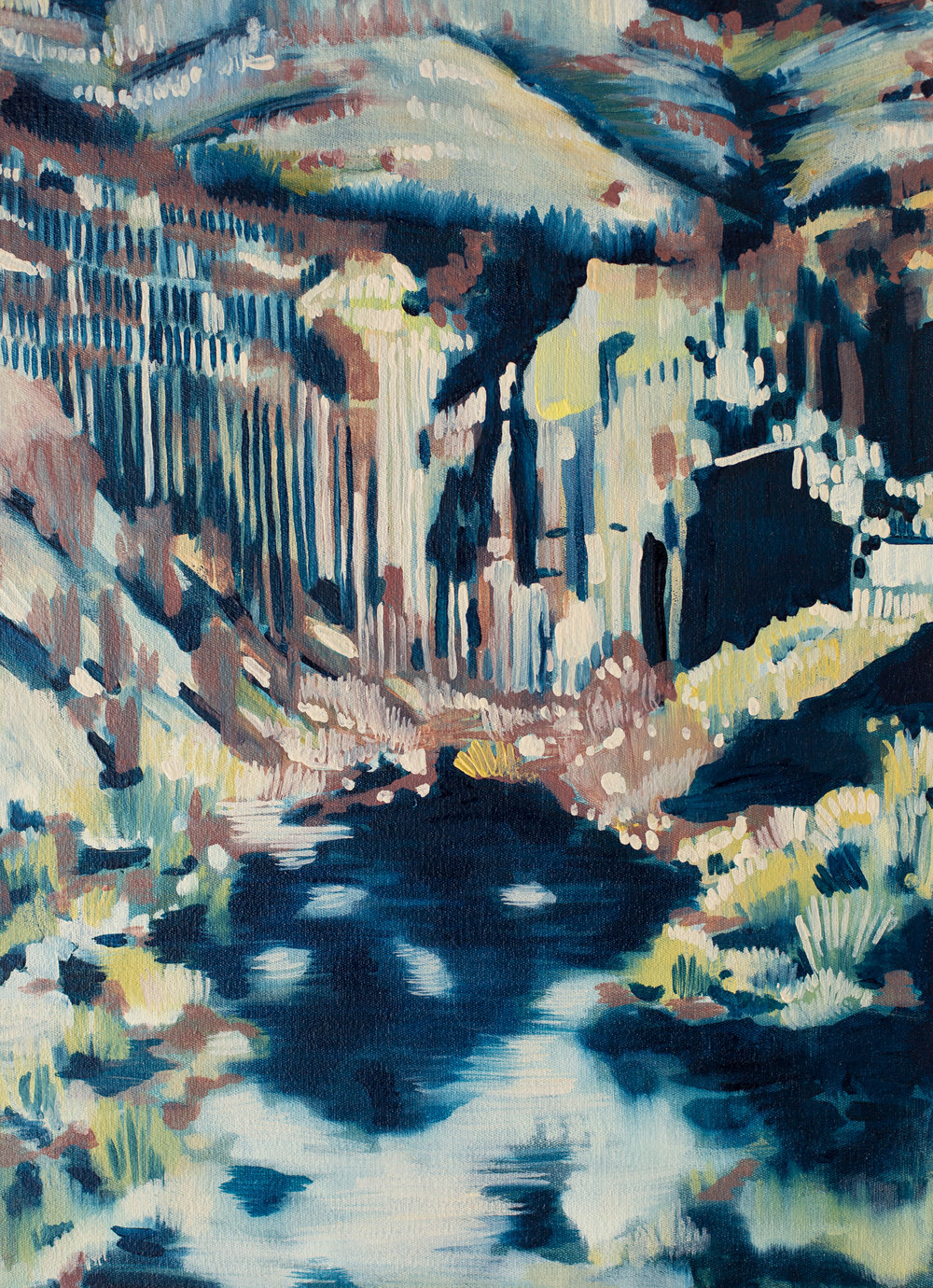 ' Downstream '   Leila Walter  Oil on canvas  400 x 540 x 40 mm  R 4340.00 excl. vat