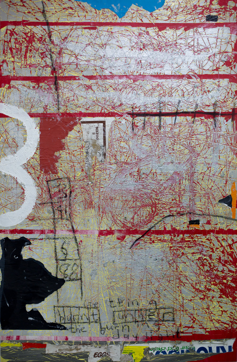 ' Getting Burned in the Day Light I '   Gideon Appah  Acrylic, wood glue and charcoal on canvas  975 x 25 x 149 mm  R 25 000.00 excl. vat