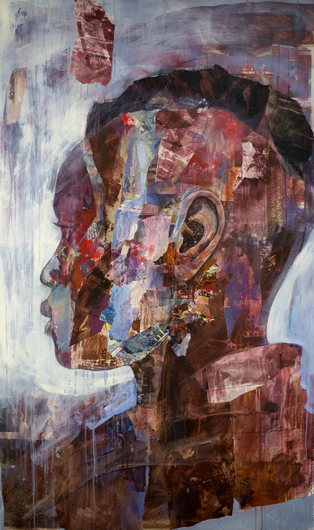 ' Attending Function'   Restone Maambo  Mixed media and collage on canvas  1520 x 910 x 35 mm  R 38 000. 00 excl. vat