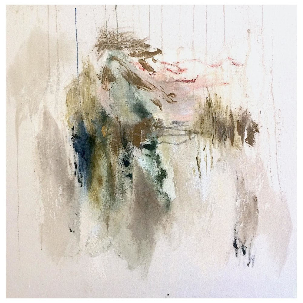 ' A Figure Reaching Out For Love Only To Be Torn Into Pieces On the Meat Market'   Isabella Chydenius  Mixed media on un primed canvas  600 x 600 x 30 mm  R 15 000 excl. vat
