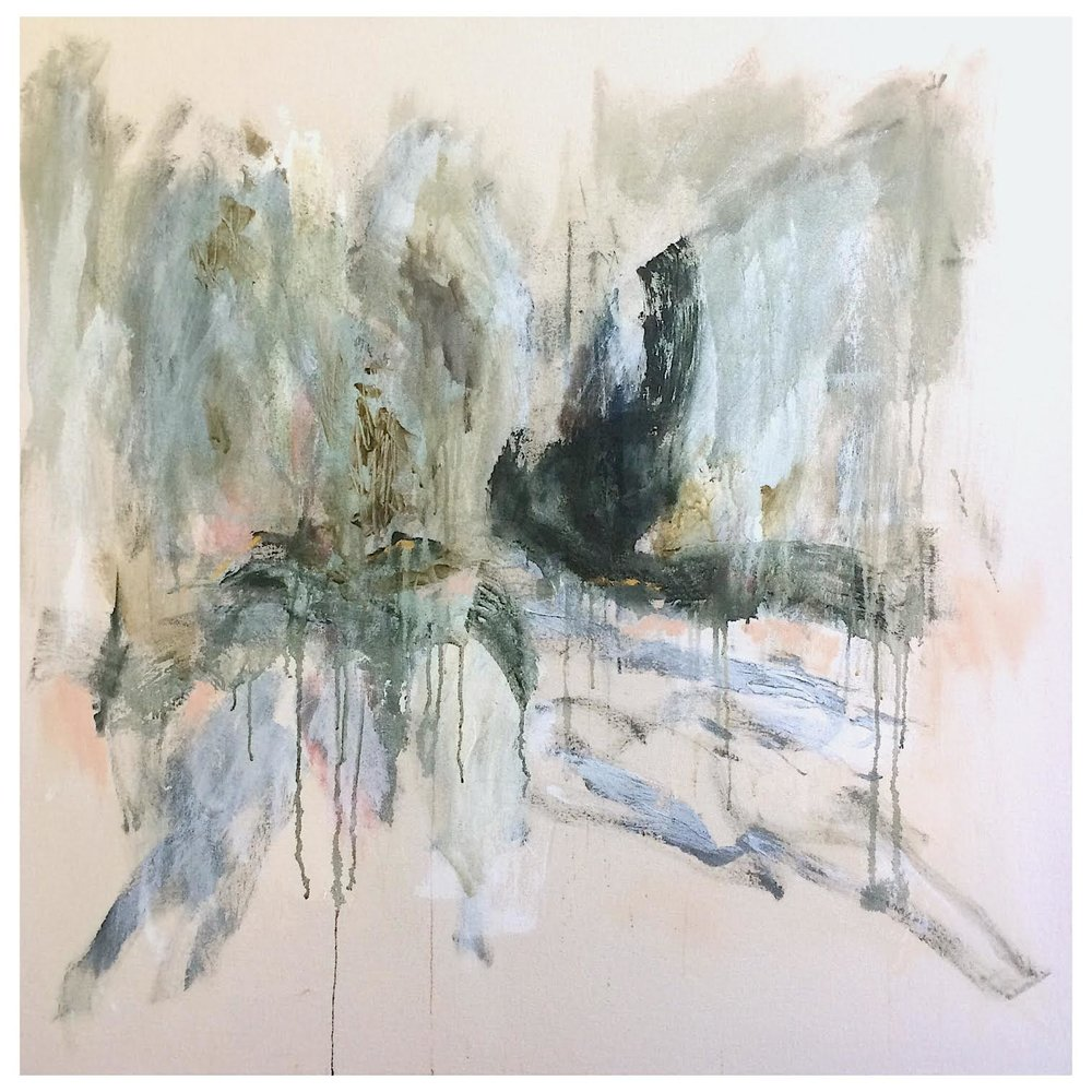 ' On the Other Side of the Lake House, You Can See Two Moving Bodies Escaping Their Housewife Vaginas'   Isabella Chydenius  Mixed media on un primed canvas  1000 x 1000 x 30 mm  R 18 000. 00 excl. vat