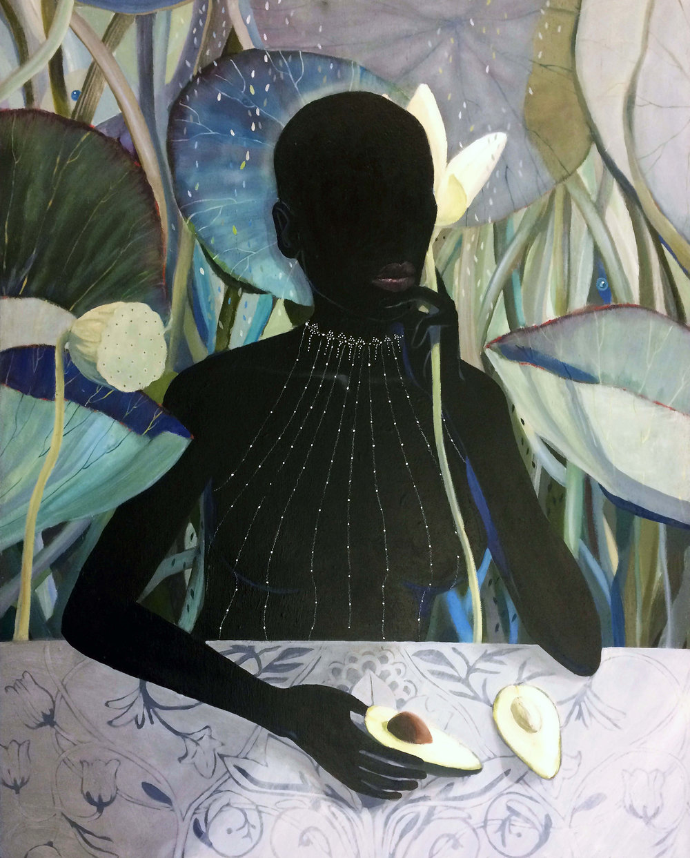 ' At the Table I' (Avocado)   Leila Fanner  Oil and pastel on wood (framed)  1200 x 1000 x 30 mm  R 40 000.00 excl. vat