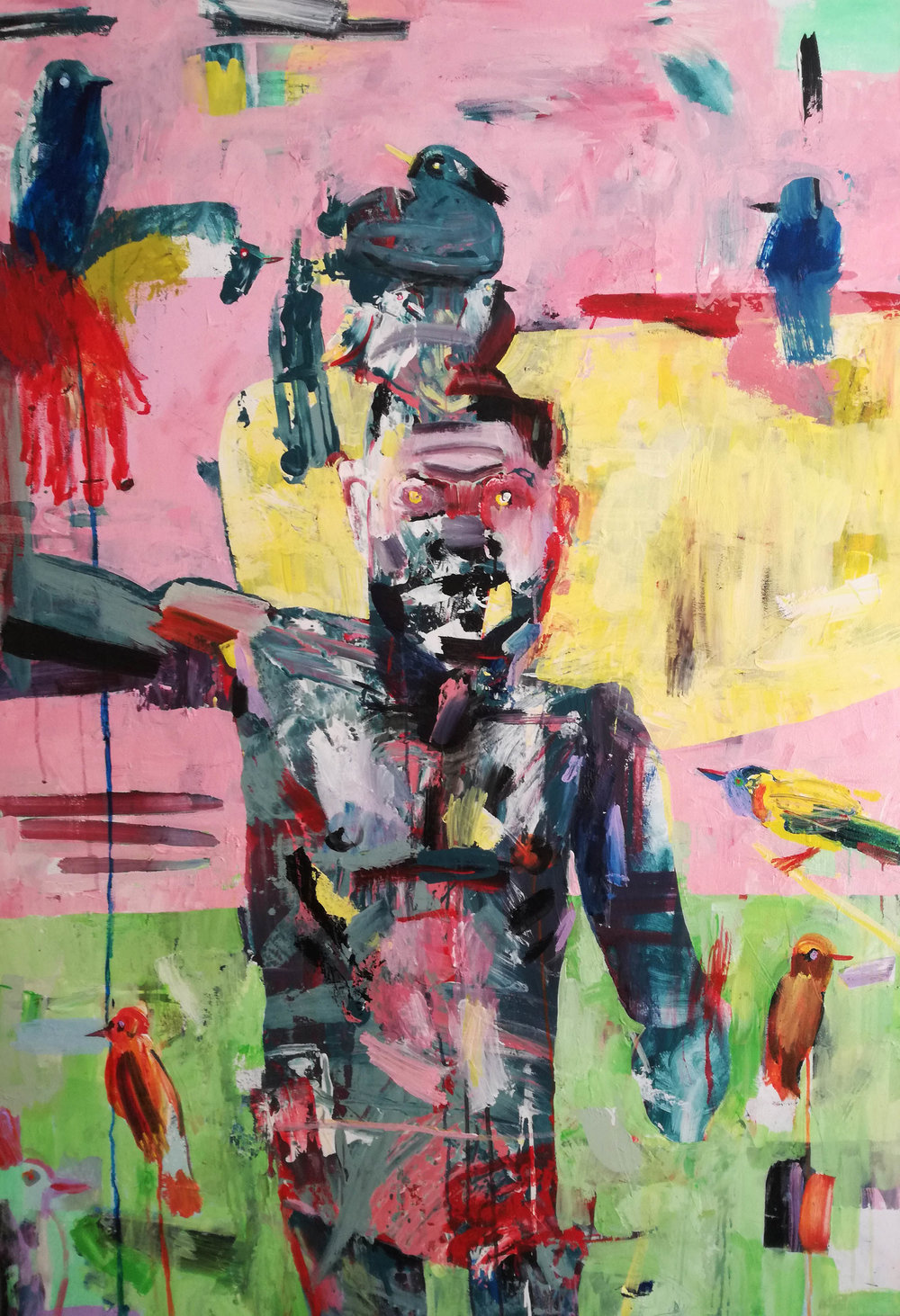 ' Birdcatcher'   Su Opperman  Mixed media on canvas  1540 x 1060 x 30 mm  R 18 000.00 (SOLD)
