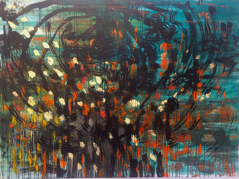 ' The Burning Bush and Other Stories'   Greta Mc Mahon  Oil and mixed media on canvas  2000 x 1500 x 35 mm  R 55 000.00 excl. vat