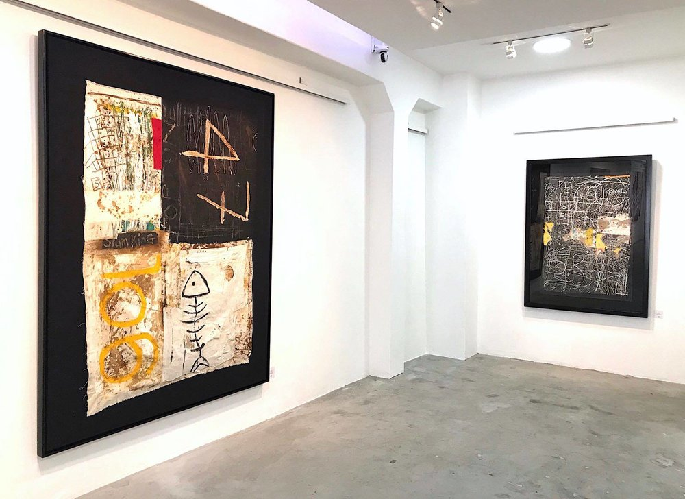 ' Old Doorway' (Left)   Gideon Appah  Oil, collage and mixed media (framed)  1460 x 1100 x 50 mm  R 40 000.00 excl. vat     ' Faded Wall' (Right)   Gideon Appah   Oil, collage and mixed media (Framed)  1460 x 1100 x 60 mm  R 25 000. 00 excl. vat