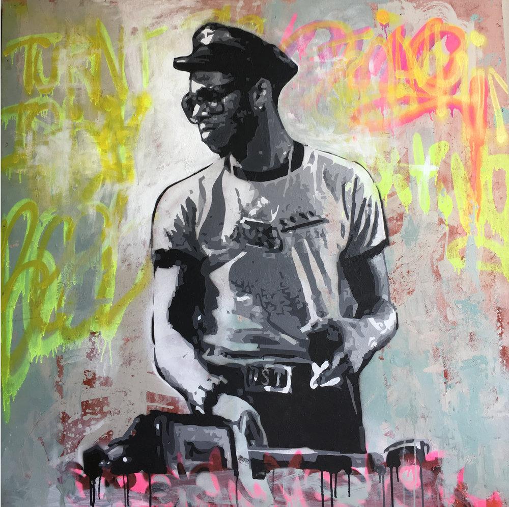 ' Grand Master Flash'   Ludumo Maqabuka  Mixxed media on canvas  1220 x 1200 x 30 mm  R 26 500.00 excl. vat