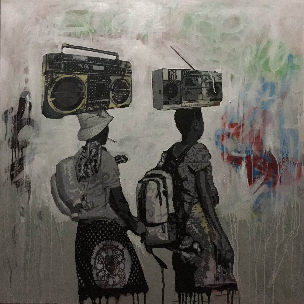 ' Traveling Sound '  Ludumo Maqabuka 1000 x 980 x 30 mm Mixed media on canvas  R 19 000.00 excl. vat