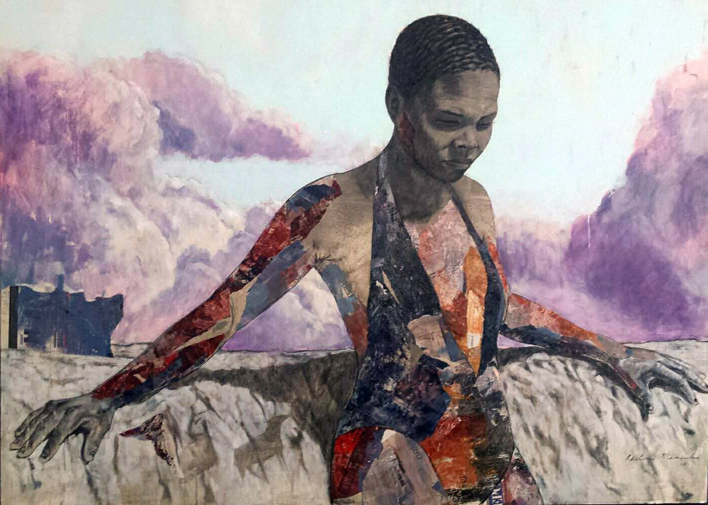 ' Sangoma (Fortune Teller)'  Restone Maambo Mixed media and collage on canvas 1800 x 1300 x 35 mm  R 60 000.00 excl. vat (SOLD)