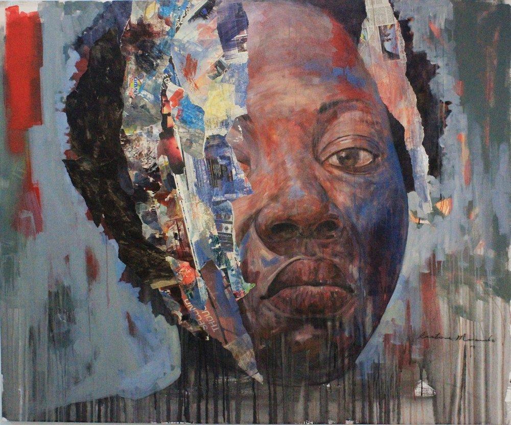 ' Zandile'   Restone Maambo  Mixed media on canvas  1700 x 1400 x 30 mm  R 58 000.00 excl. vat