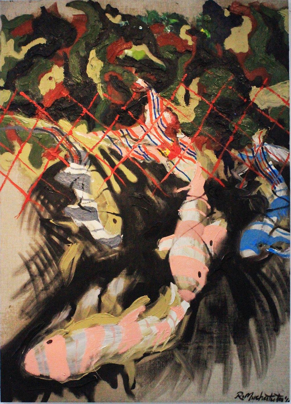 ' The Great Escape'   Ronald Muchatuta  Oil on canvas  1500 x 1100 x 30 mm  R 30 000.00 excl. vat