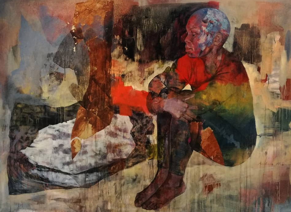 ' After The Ceremony'  Restone Maambo Mixed media on canvas 1800 x 1310 x 40 mm R 60 000.00 excl. vat (SOLD)