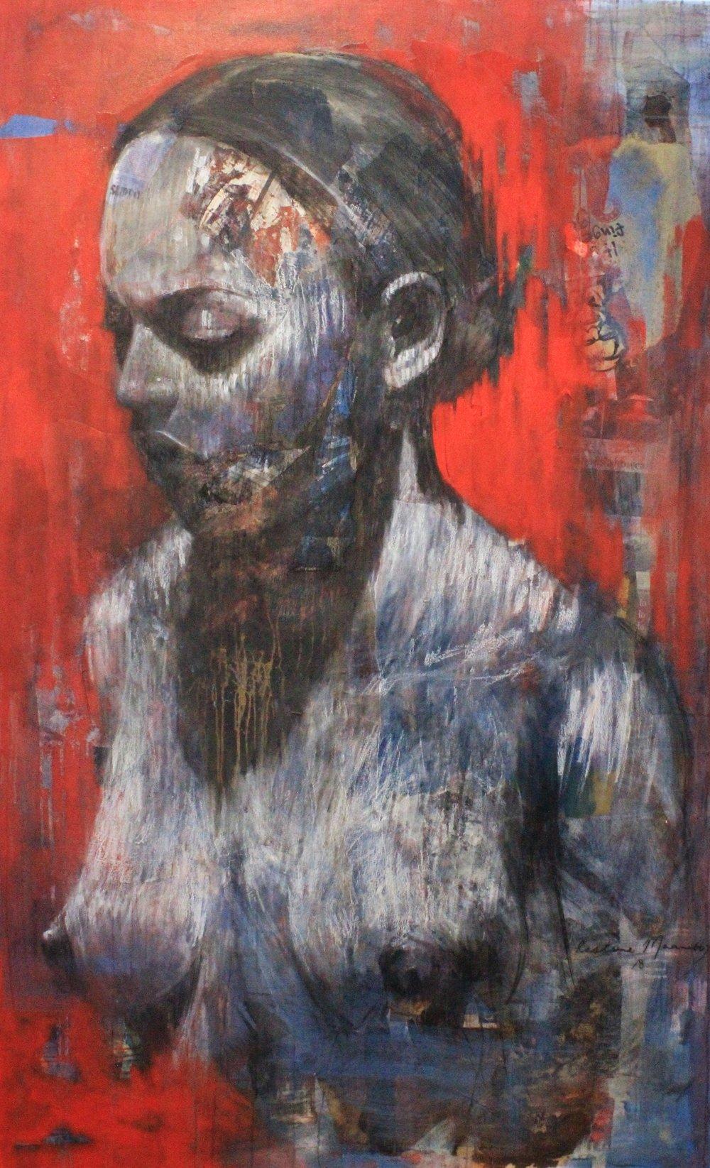 ' Kusalahigwa '   Restone Maambo  Collage and Mixed Media on Canvas  2090 x 1500 x 50 mm  2018