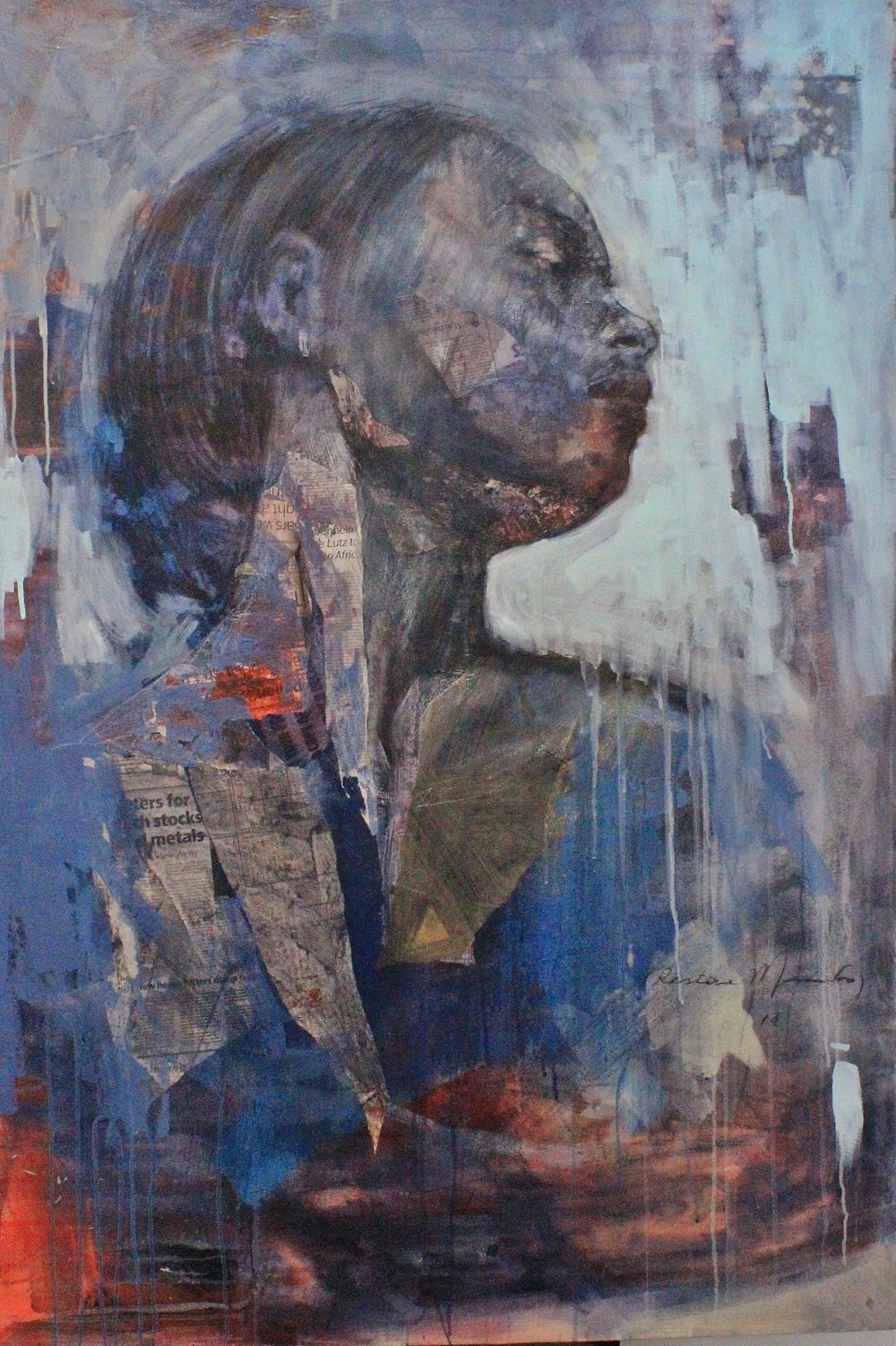 '  Taking Sides '   Restone Maambo   Collage and Mixed Media on Canvas  1000 x 1550 x 40 mm  R 58 000.00 excl. Vat   2018