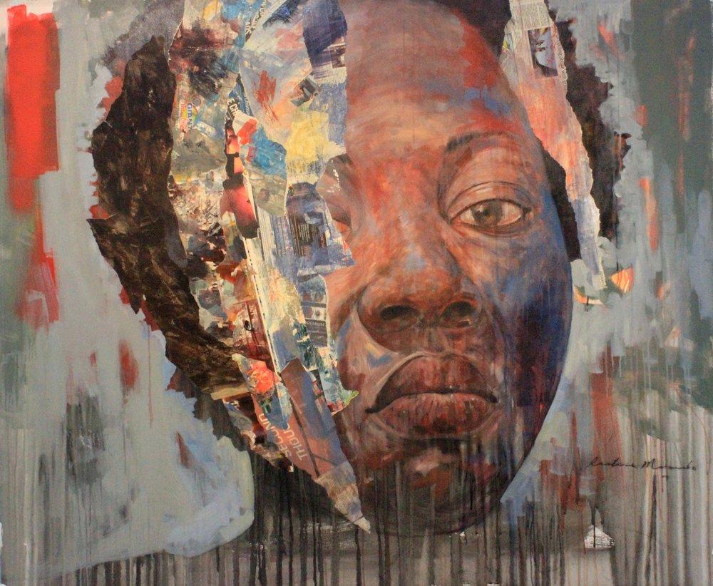 ' Zandile'   Restone Maambo  Mixed media on canvas  1700 x 1400 x 30 mm