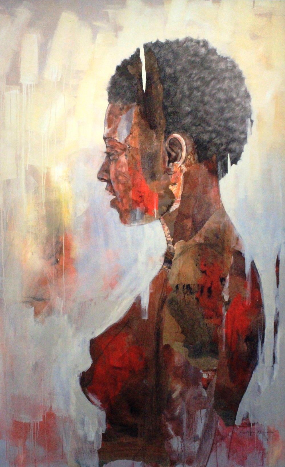 ' Kusalahigwa'   Restone Maambo  Collage and Mixed Media on canvas  2060 x 1960 x 40 mm  2018