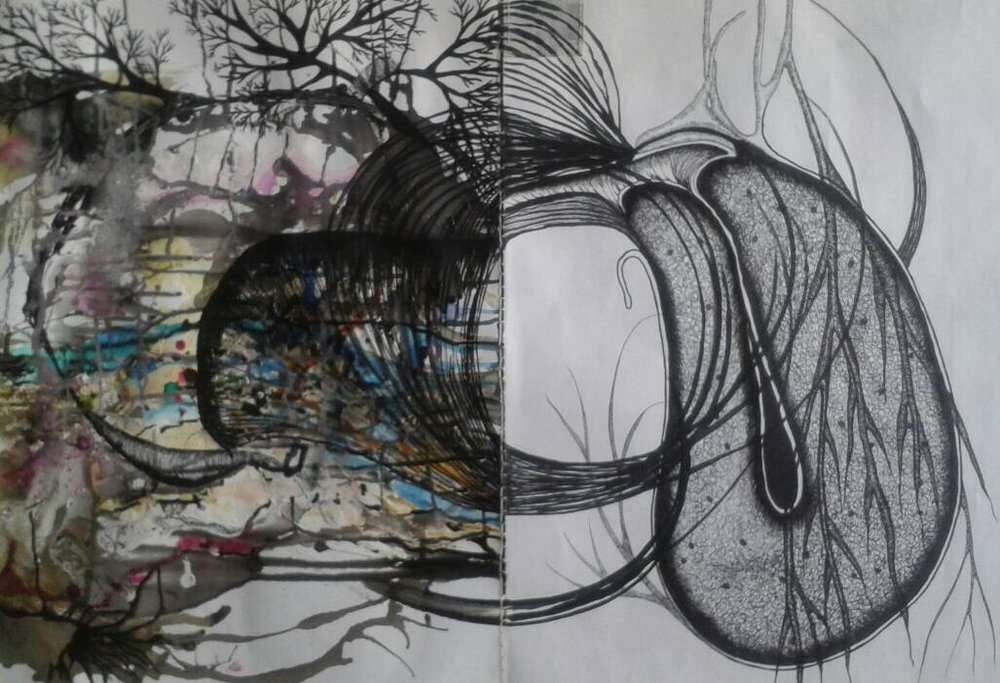 Life's Fragility   Tuli Mekondjo  Acrylic, resin, permanent marker & thread on canvas  600 x 900 mm  R 6  300. 00 excl. vat